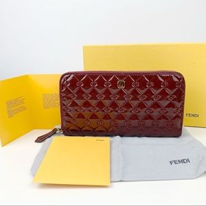 Fendi Patent Leather Zip Wallet
